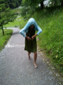 This is me last summer- covering my head to protect myself from ticks (I was ALWAYS so careful!).  I was very sick at that point.  Little did I know that I already had Lyme Disease and had been bitten years earlier.