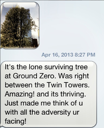 One very encouraging text message a sweet friend sent me :)